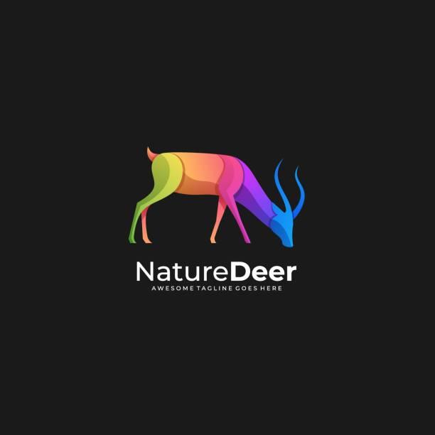 ilustraciones, imágenes clip art, dibujos animados e iconos de stock de ilustración vectorial naturaleza ciervo degradado colorido - hueva