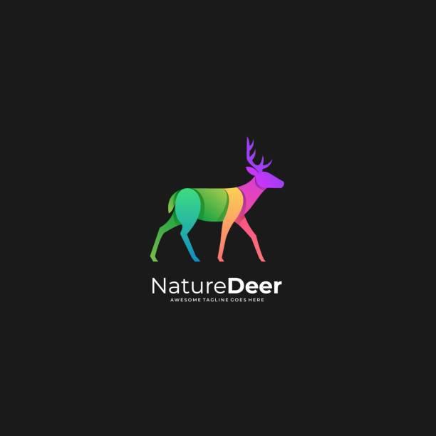ilustraciones, imágenes clip art, dibujos animados e iconos de stock de ilustración vectorial naturaleza ciervo degradado colorido. - hueva