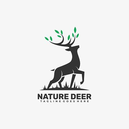 Vector Illustration Nature Deer Silhouette Art Style.