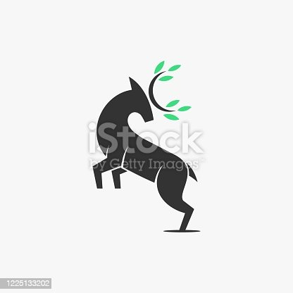 Vector Illustration Nature Deer Silhouette Style.