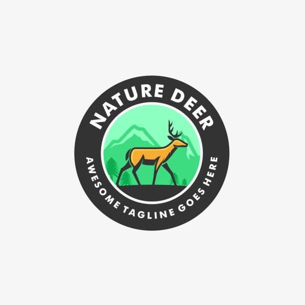 ilustraciones, imágenes clip art, dibujos animados e iconos de stock de ilustración vectorial naturaleza ciervo vintage insignia. - hueva