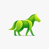 Vector Illustration Nature Horse Gradient Colorful Style.