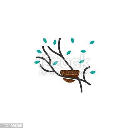 istock Vector Illustration Nature Nest Line Art Style. 1204088299