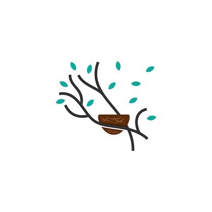 Vector Illustration Nature Nest Line Art Style.