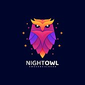 Vector Illustration Night Owl Gradient Colorful Style.