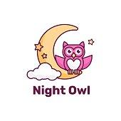 Vector Illustration Night Owl Simple Mascot Style.