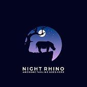 Vector Illustration Night Rhino Silhouette Style.