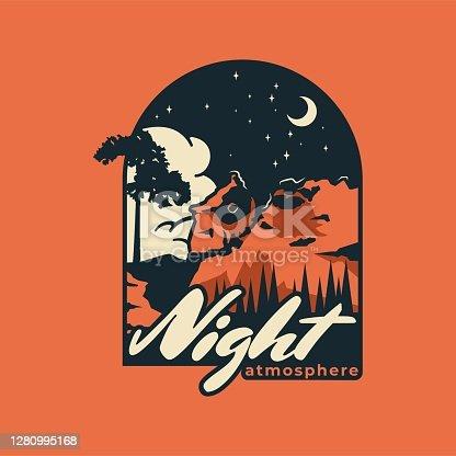 istock Vector Illustration Night Vintage Badge Style 1280995168