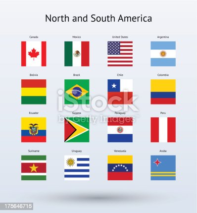 Illustration of four rows of North and South American flags against a light blue background.  Every flag is the same square shape.  The first row features a Canadian flag, a Mexican flag, an American flag and an Argentinean flag.  The second row features a Bolivian flag, a Brazilian flag, a Chilean flag and a Colombian flag.  The third row features an Ecuadorian flag, a Guyana flag, a Paraguay flag and a Peruvian flag.  The fourth row features a Suriname flag, a Uruguay flag, a Venezuelan flag and an Aruban flag.