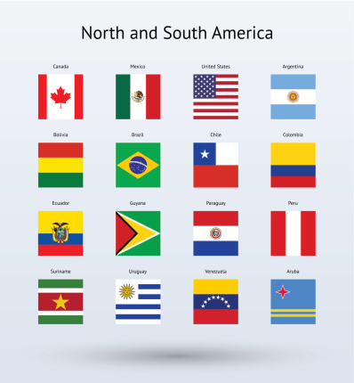 Vector illustration North and South American flags