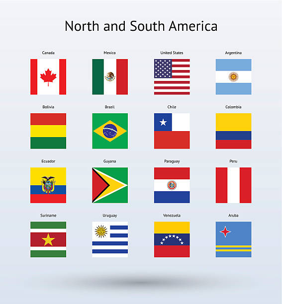 Vector illustration North and South American flags Illustration of four rows of North and South American flags against a light blue background.  Every flag is the same square shape.  The first row features a Canadian flag, a Mexican flag, an American flag and an Argentinean flag.  The second row features a Bolivian flag, a Brazilian flag, a Chilean flag and a Colombian flag.  The third row features an Ecuadorian flag, a Guyana flag, a Paraguay flag and a Peruvian flag.  The fourth row features a Suriname flag, a Uruguay flag, a Venezuelan flag and an Aruban flag. two dimensional shape stock illustrations