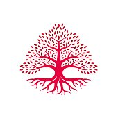 Vector Illustration Oak Tree Red Color Silhouette Style.
