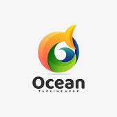 Vector Illustration Ocean Gradient Colorful Style.