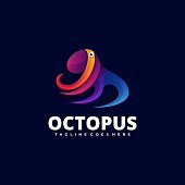 Vector Illustration Octopus Gradient Colorful Style.