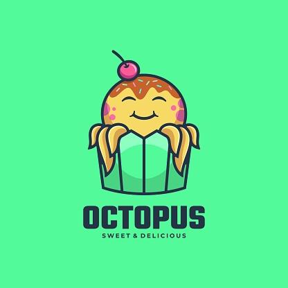 Vector Illustration Octopus Simple Mascot Style.