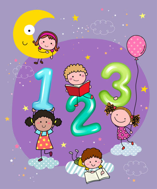 vector illustration of 123 numbers with hand-drawn kids in the sky at night. - bedtime story stock illustrations