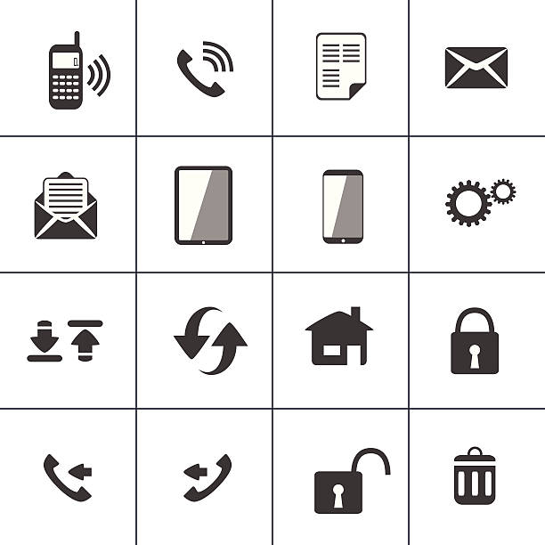 Vector illustration of 16 communication icons Contact and device web icon animal call stock illustrations