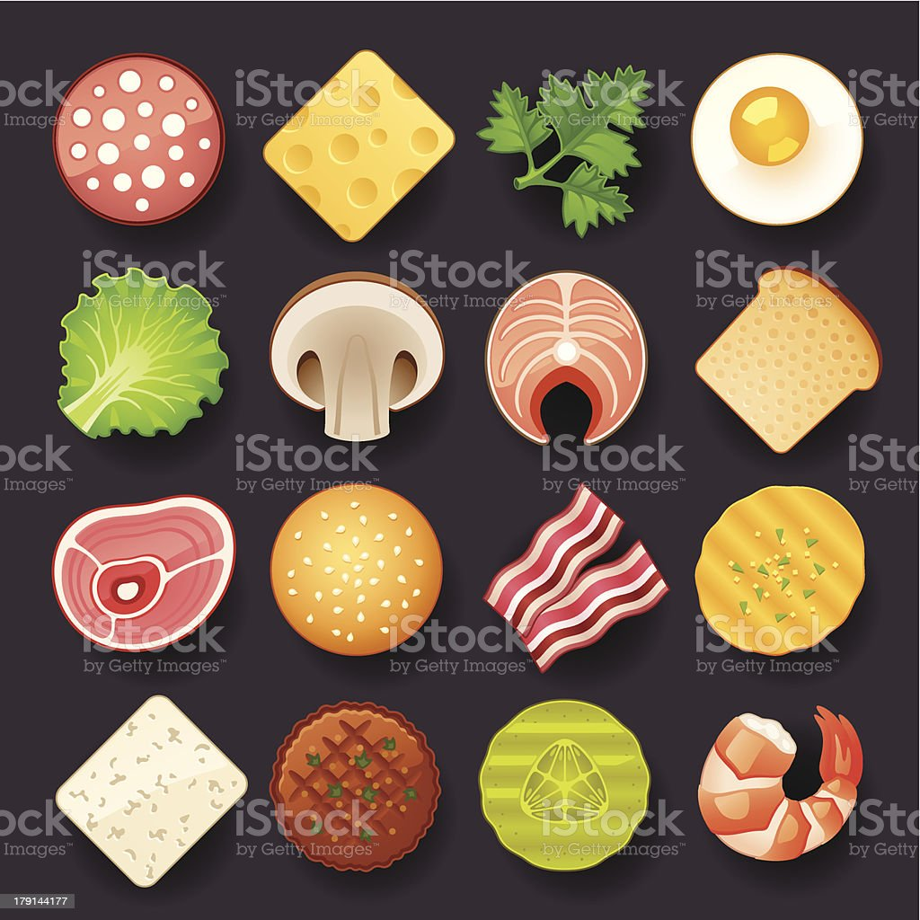 Vector illustration of 16 food icons on black vector art illustration