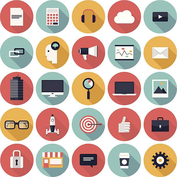 Vektor-illustration von 25 Runde business Symbole – Vektorgrafik