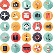 Vector illustration of 25 round travel icons