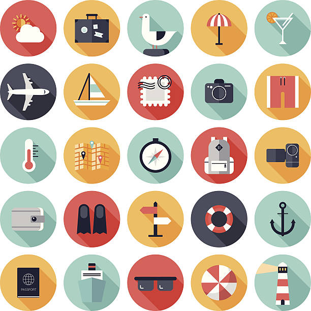 vector illustration of 25 round travel icons - flat design icons stock illustrations, clip art, cartoons, & icons