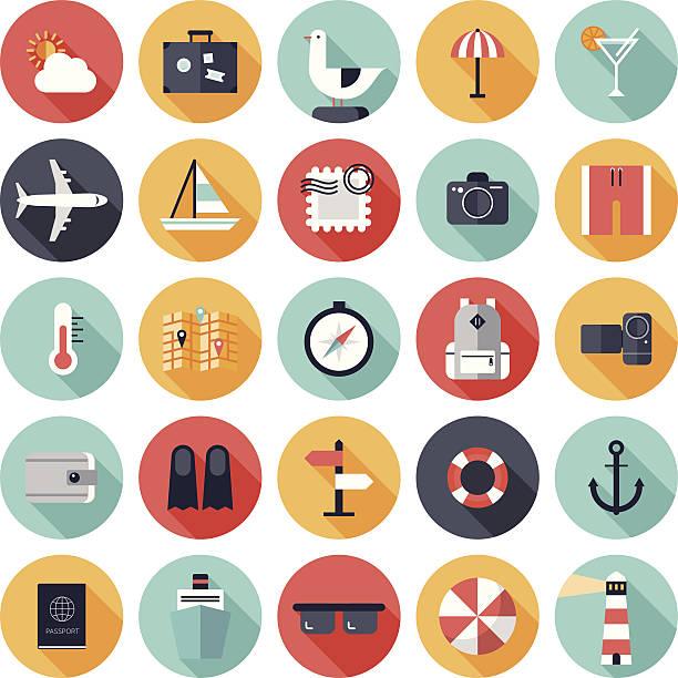 Vektor-illustration von 25 Runde Reisen Symbole – Vektorgrafik