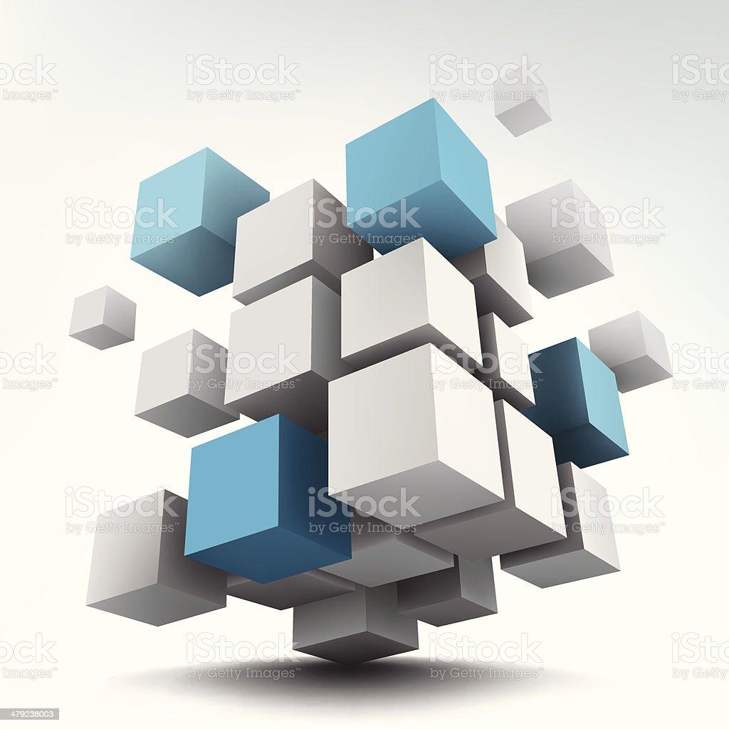 Vector illustration of 3d cubes vector art illustration