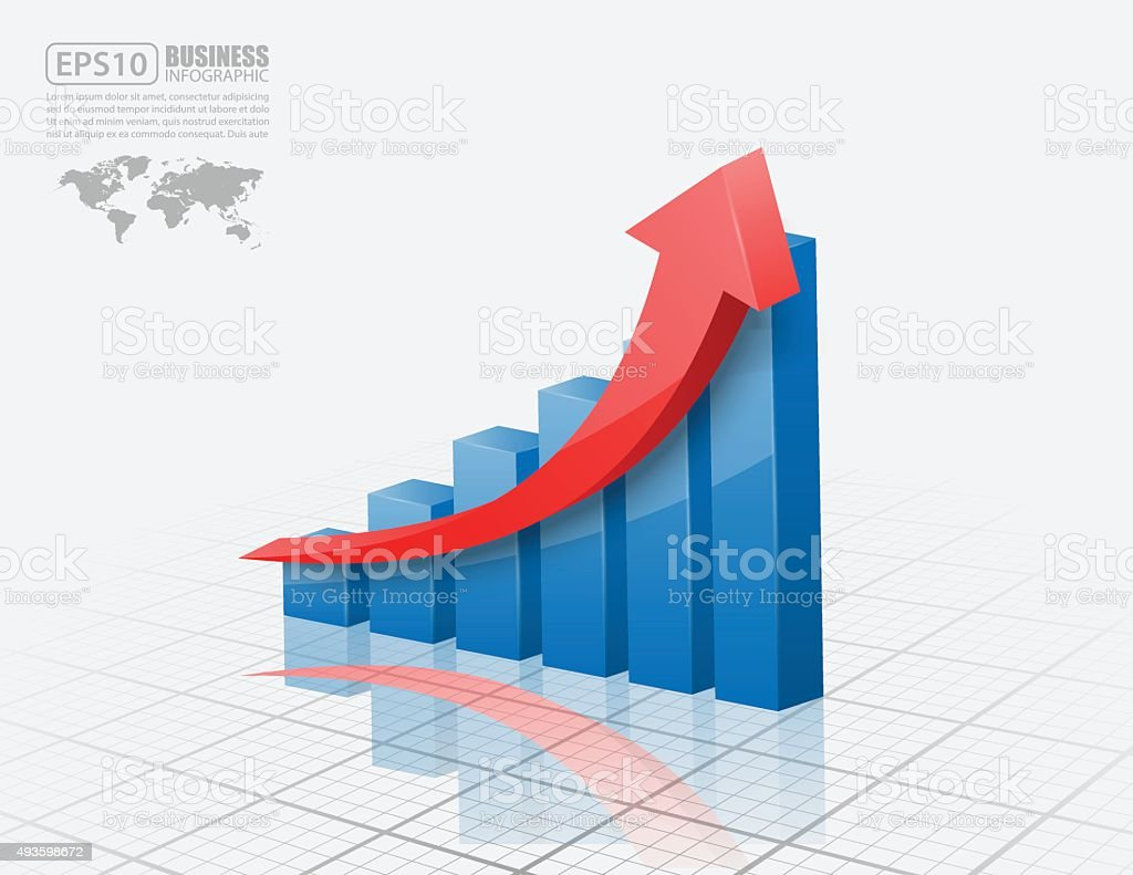 Vector illustration of 3d graph vector art illustration