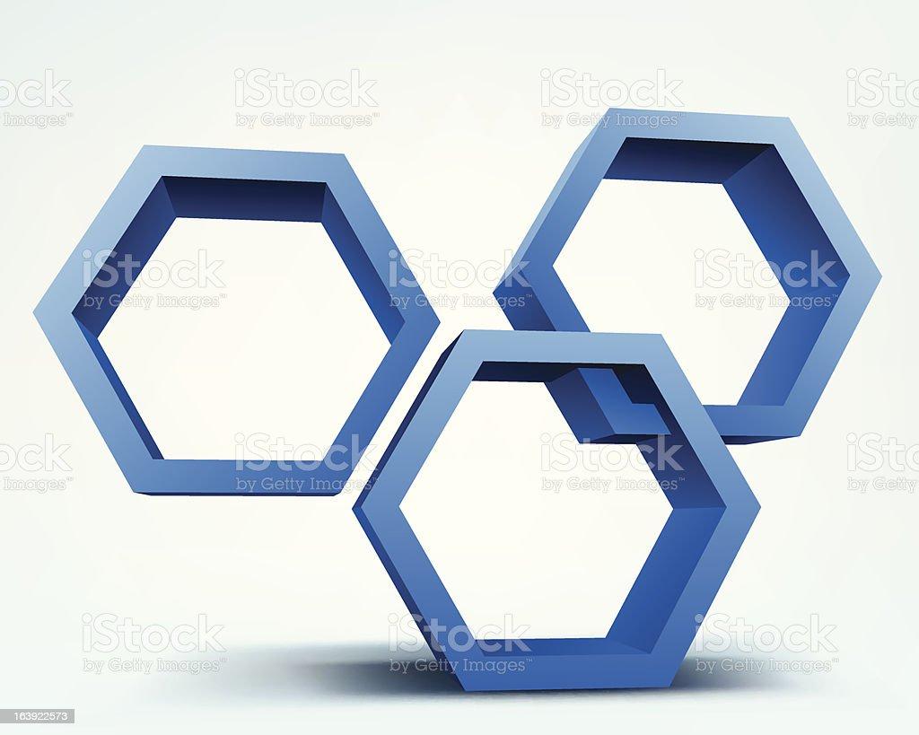 Vector illustration of 3d hexagons royalty-free stock vector art