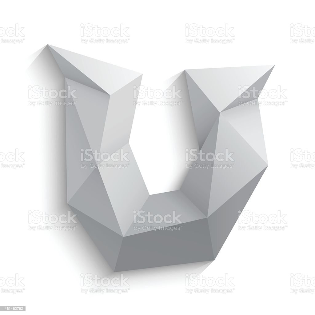 Vector illustration of 3d letter U on white background vector art illustration