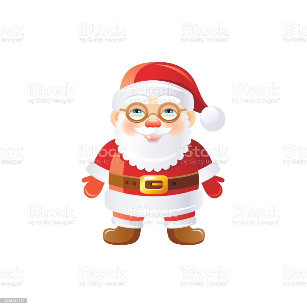eb7d7a3f8052d Vector illustration of 3d realistic Xmas symbol. Cute standing Santa Claus  in glasses. Merry Christmas and winter holiday icon isolated on white  background.