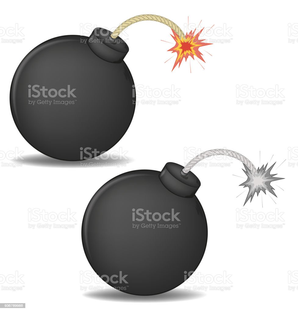vector illustration of a 3D round bomb with burning wick. color and black-and-white versions vector art illustration
