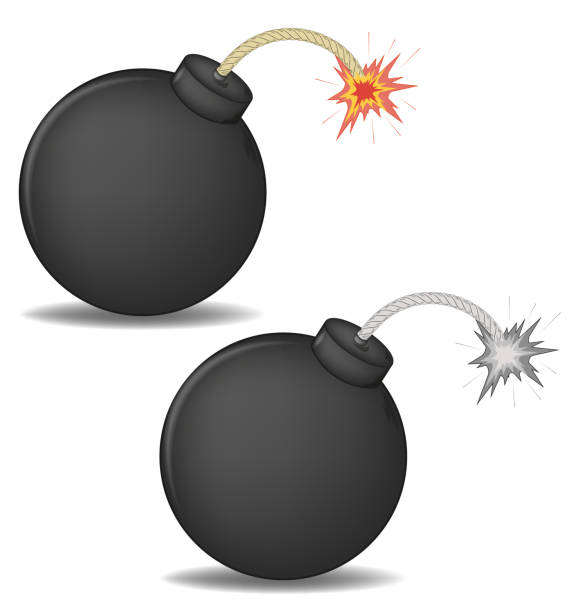 vector illustration of a 3D round bomb with burning wick. color and black-and-white versions vector illustration of a 3D round bomb with burning wick. color and black-and-white versions explosive fuse stock illustrations