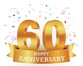 Vector illustration of a 60 anniversary template