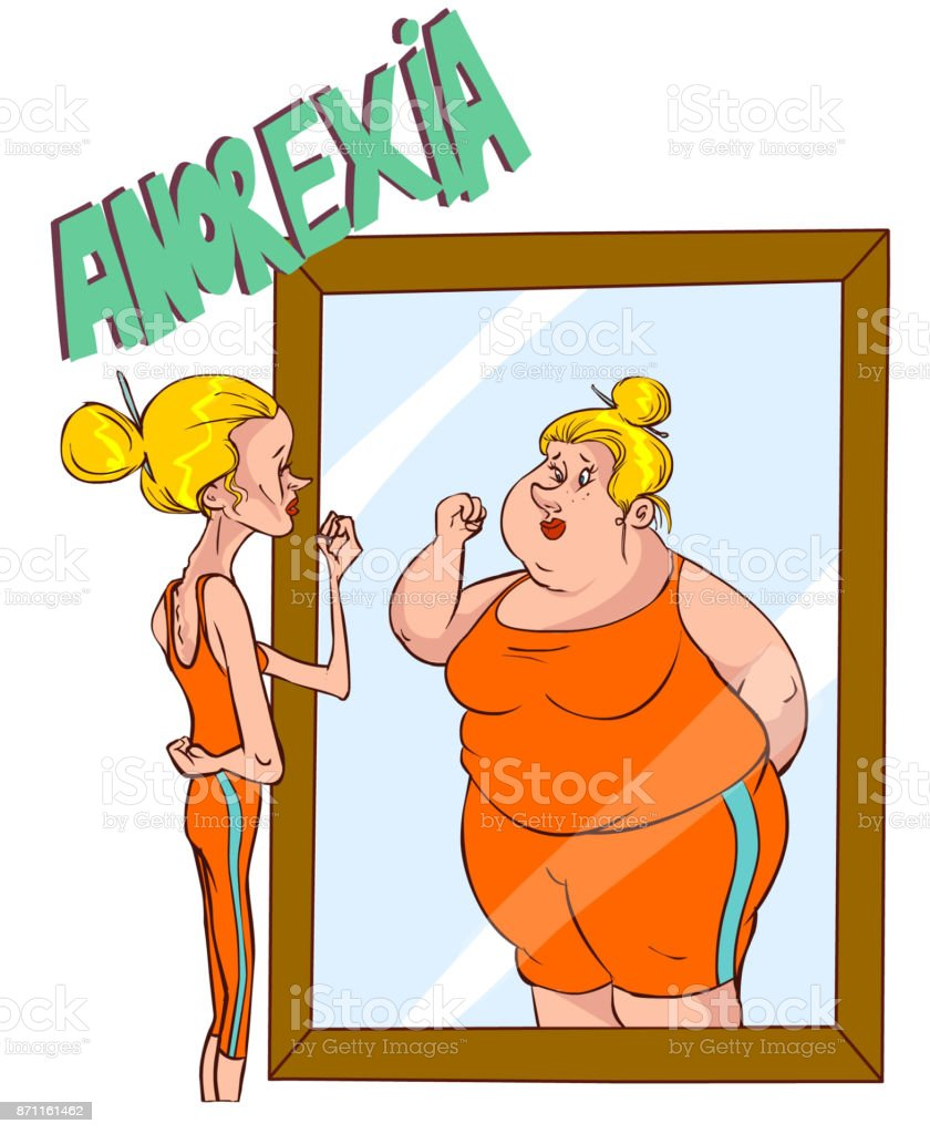 Vector illustration of a Anorexia - Distorted Body Image vector art illustration