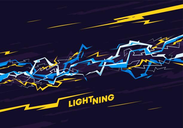 エネルギー稲妻を使用した背景画像のベクトル図 - 雷点のイラスト素材/クリップアート素材/マンガ素材/アイコン素材