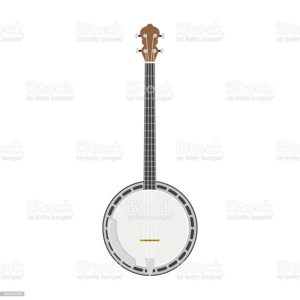 Vector illustration of a banjo in cartoon style isolated on white background vector art illustration