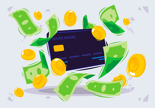 Vector illustration of a Bank card with paper money and gold coins