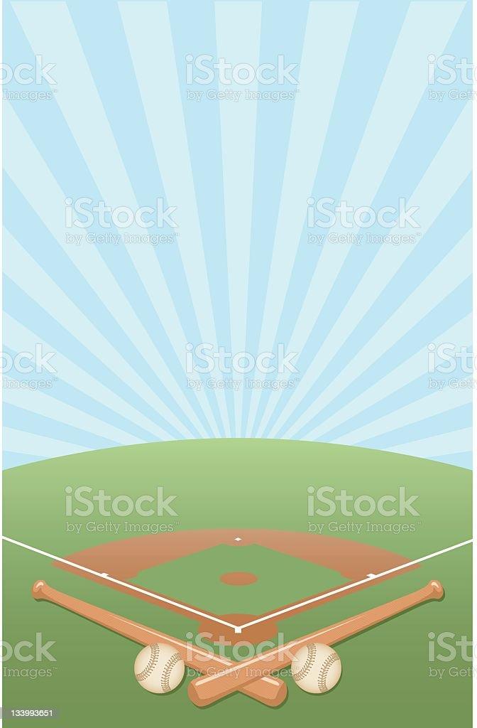Vector illustration of a baseball diamond background vector art illustration