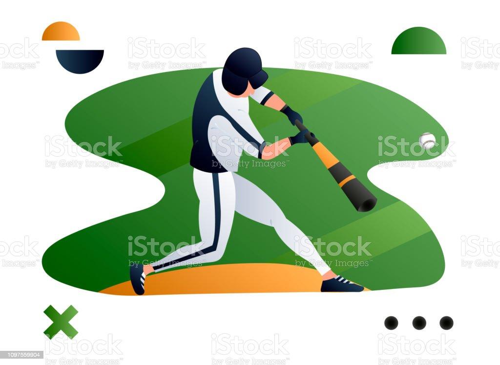 Vector illustration of a baseball player hitting the ball. Sport...