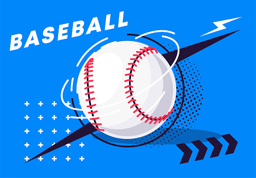 Vector illustration of a baseball with stylish elements on the background
