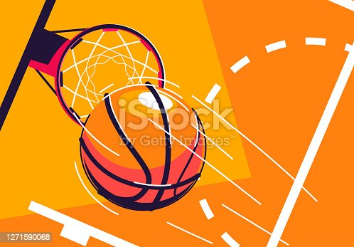 istock Vector illustration of a basketball flying into a basketball Hoop, top view, with a piece of marking of the baskotball court 1271590068