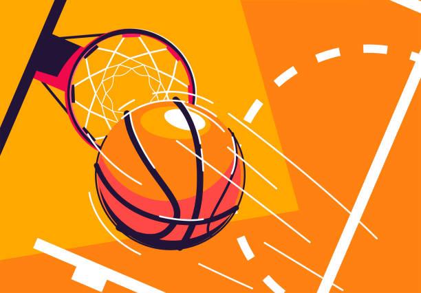 vektor-illustration eines basketballs, der in einen basketball-reifen fliegt, ansicht von oben, mit einem stück markierung des baskotballplatzes - basketball stock-grafiken, -clipart, -cartoons und -symbole