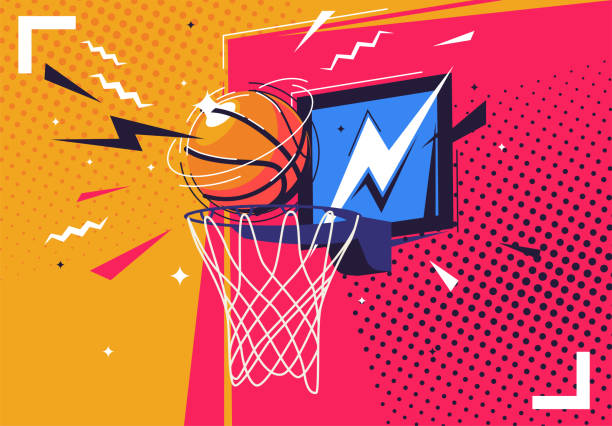 Vector illustration of a basketball flying into the ring, in the style of pop art Vector illustration of a basketball flying into the ring, in the style of pop art basketball stock illustrations