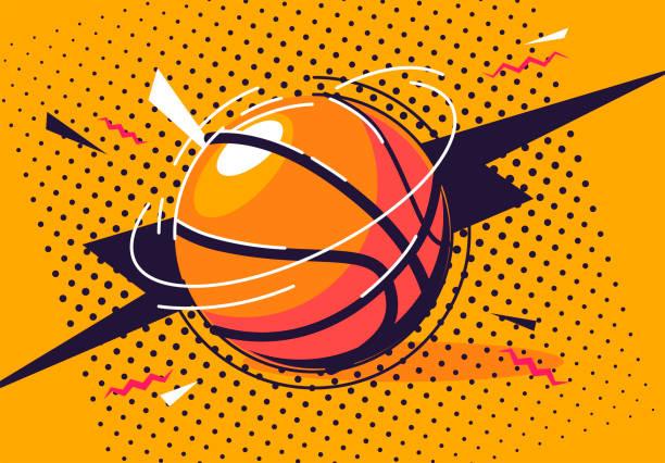 vector illustration of a basketball in pop art style vector illustration of a basketball in pop art style book clipart stock illustrations