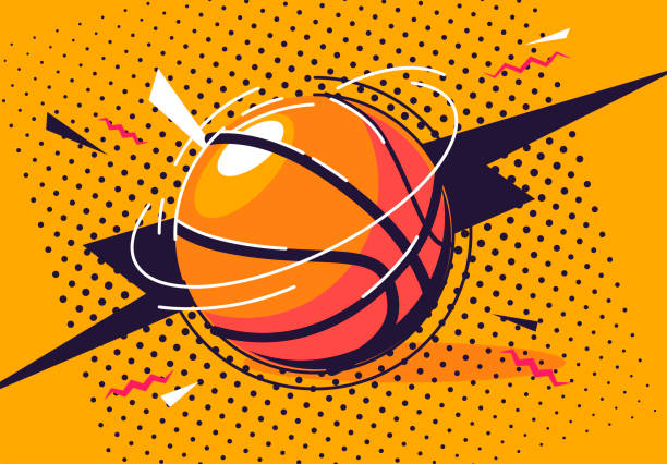 vector illustration of a basketball in pop art style vector illustration of a basketball in pop art style basketball stock illustrations