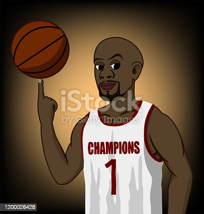 Vector illustration of a basketball player. He is wearing a white shirt. And he is spinning ball with his finger. It has orange and black background.