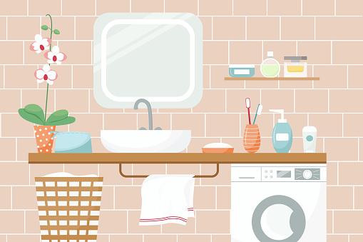 Vector illustration of a bathroom in pleasant colors. Sink, mirror flower cosmetics towel washing machine.
