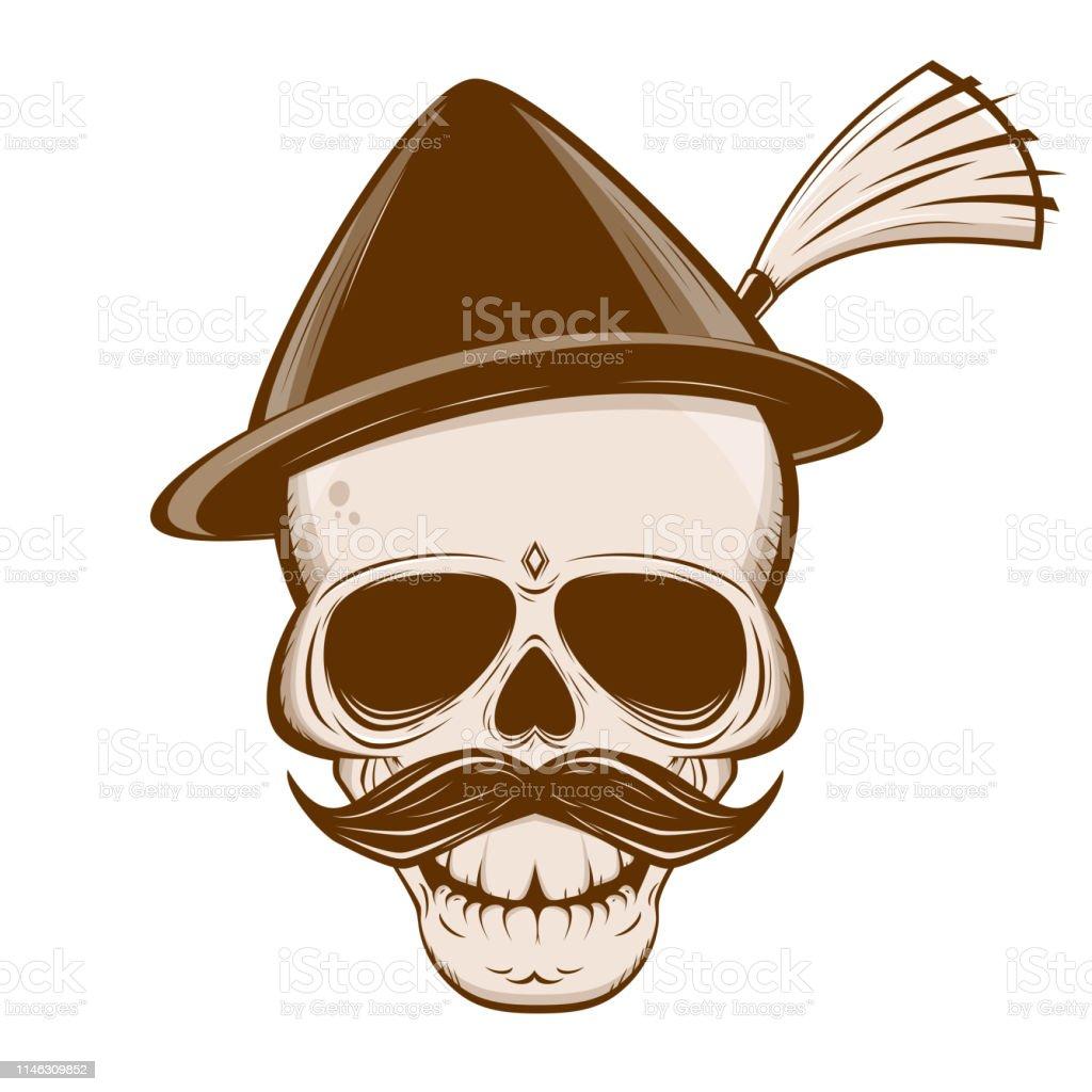 Vektordarstellung eines bayerischen Schädels mit Schnurrbart und traditionellem Hut - Lizenzfrei Alt Vektorgrafik