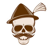 vector illustration of a bavarian skull with mustache and traditional hat